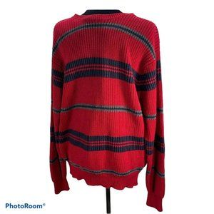 Nautica Striped Red Knit Sweater size Large